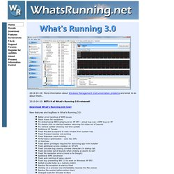 Welcome to WhatsRunning.net! The home of What's Running, your system information utility!