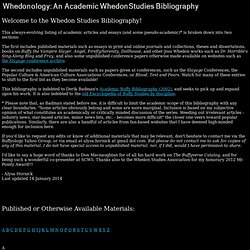 Whedonology: An Academic Whedon Studies Bibliography