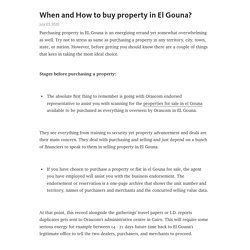 When and How to buy property in El Gouna?