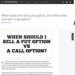 When does one sell a put option, and when does one sell a call option?