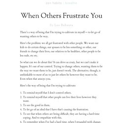 When Others Frustrate You
