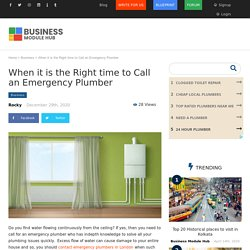 When it is the Right time to Call an Emergency Plumber
