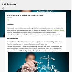 When to Switch to An ERP Software Solutions