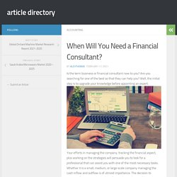 When Will You Need a Financial Consultant?