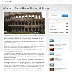 Where to Eat in Rome During Holidays