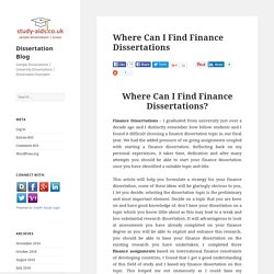 Where Can I Find Finance Dissertations - Best Finance Dissertations