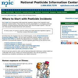 Where to Start with Pesticide Incidents