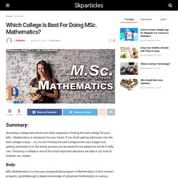 Which College is Best For Doing MSc Mathematics?