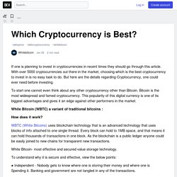 Which Cryptocurrency is Best?