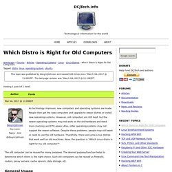 Which Distro is Right for Old Computers