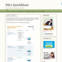 Nik's QuickShout: Which ELT blogs do you read?