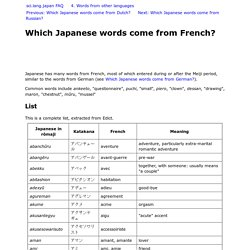 Which Japanese words come from French?