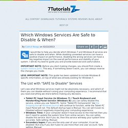 Which Windows Services Are Safe to Disable & When?