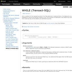 WHILE (Transact-SQL)