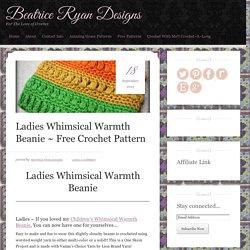 Ladies Whimsical Warmth Beanie ~ Free Crochet Pattern