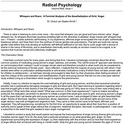 Whispers and Roars: A Feminist Analysis of the Anesthetization of Girls' Anger