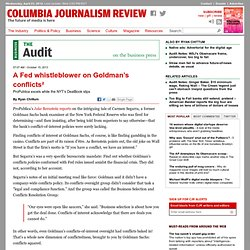 A Fed whistleblower on Goldman's conflicts²