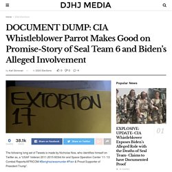 DOCUMENT DUMP: CIA Whistleblower Parrot Makes Good on Promise-Story of Seal Team 6 and Biden's Alleged Involvement