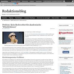 Petition: Kein Redeverbot für akademische 'Whistleblower'