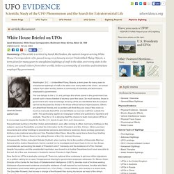White House Briefed on UFOs