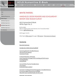 ACLS Humanities E-Book: White Paper No. 3