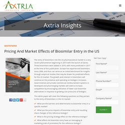 Axtria Whitepaper: Pricing and Market Effects of Biosimilar Entry in the US