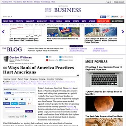 Gordon Whitman: 11 Ways Bank of America Practices Hurt Americans