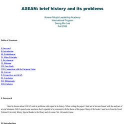 ASEAN: brief history and its problems
