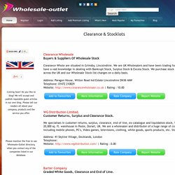 Wholesale Outlet, Clearance & Stocklot trading companies in the UK.