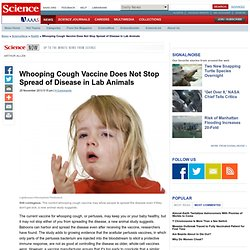 Whooping Cough Vaccine Does Not Stop Spread of Disease in Lab Animals