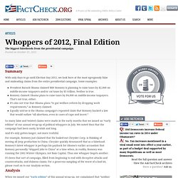 Whoppers of 2012, Final Edition