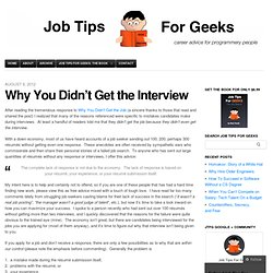 Why You Didn't Get the Interview | job tips for geeks