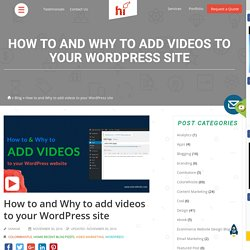 Why to and How to add videos to your WordPress site