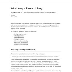 Why I Keep a Research Blog