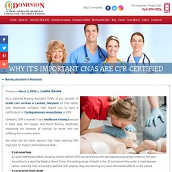 Why It's Important CNAs Are CPR-Certified