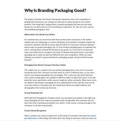 Why Is Branding Packaging Good?