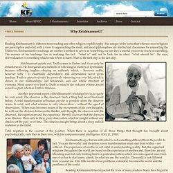 Why Krishnamurti? - KFICC Web Portal
