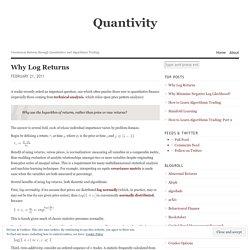 Why Log Returns