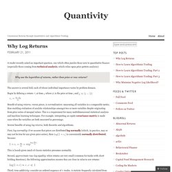 Why Log Returns « Quantivity