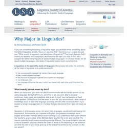 Why Major in Linguistics?