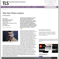 Why Max Weber matters