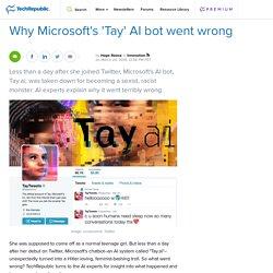 Why Microsoft's 'Tay' AI bot went wrong