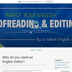 Why do you need an English Editor?