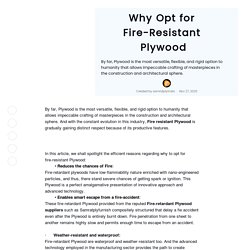 Why Opt for Fire-Resistant Plywood