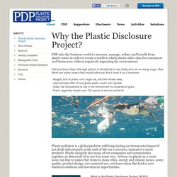 Why the Plastic Disclosure Project? - Plastic Disclosure Project