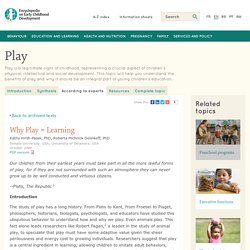 Why Play = Learning