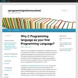 Why C Programming language as your first Programming Language?