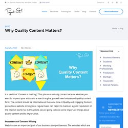 Why Quality Content Matters?