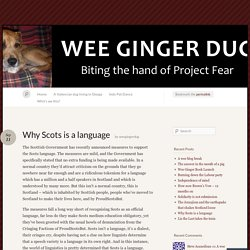 Why Scots is a language « Wee Ginger Dug