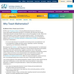 Why Teach Mathematics?